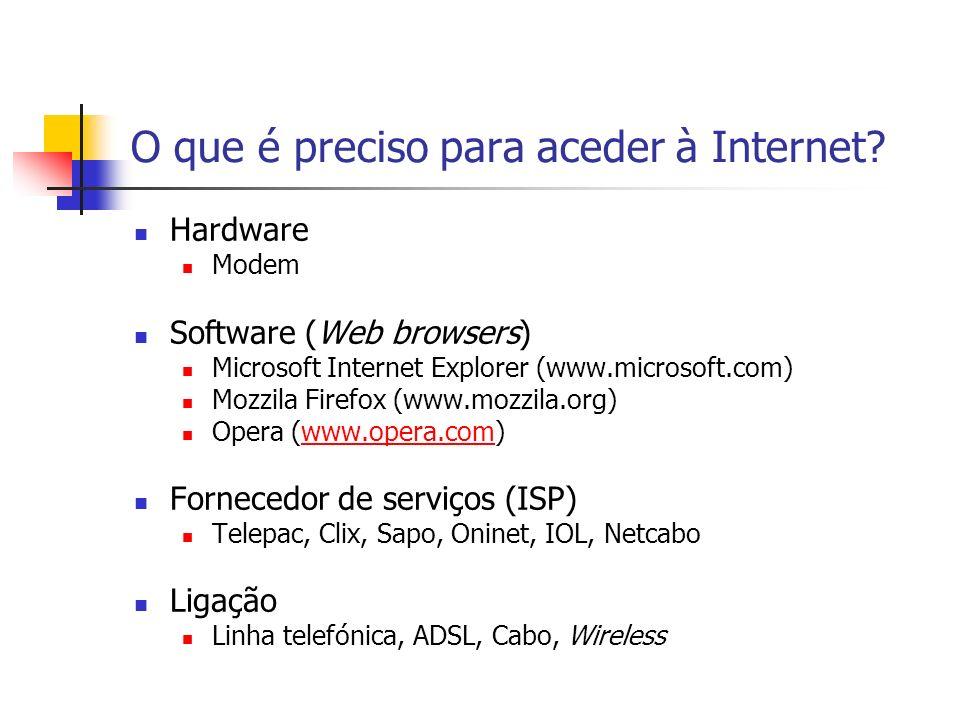 O que é preciso para aceder à Internet? Hardware Modem Software (Web browsers) Microsoft Internet Explorer (www.microsoft.com) Mozzila Firefox (www.mo