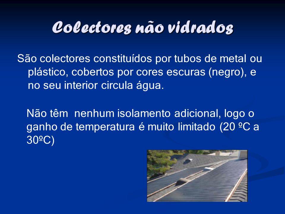 Colectores não vidrados São colectores constituídos por tubos de metal ou plástico, cobertos por cores escuras (negro), e no seu interior circula água