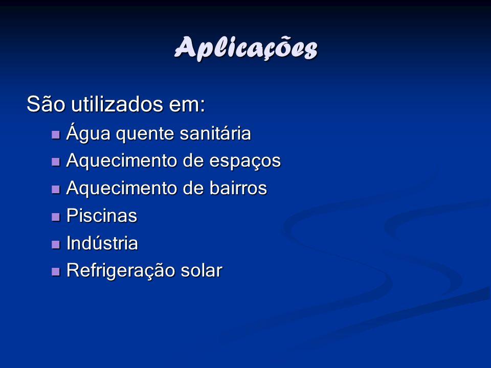 Aplicações São utilizados em: Água quente sanitária Aquecimento de espaços Aquecimento de bairros Piscinas Indústria Refrigeração solar