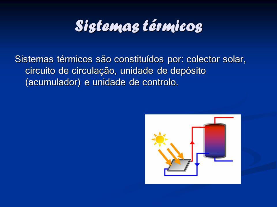 Sistemas térmicos Sistemas térmicos são constituídos por: colector solar, circuito de circulação, unidade de depósito (acumulador) e unidade de contro