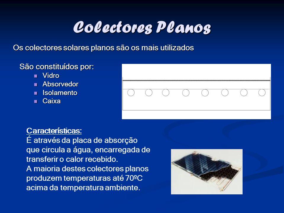 Colectores Planos São constituídos por: Vidro Vidro Absorvedor Absorvedor Isolamento Isolamento Caixa Caixa Os colectores solares planos são os mais u