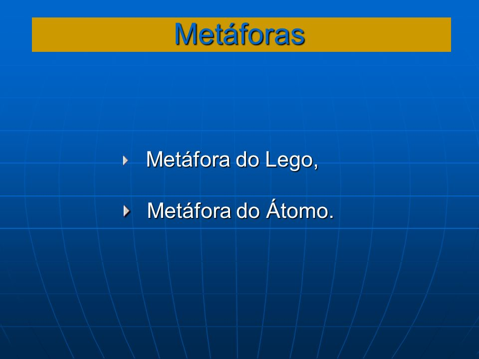 Metáforas Metáfora do Lego, Metáfora do Átomo. Metáfora do Átomo.