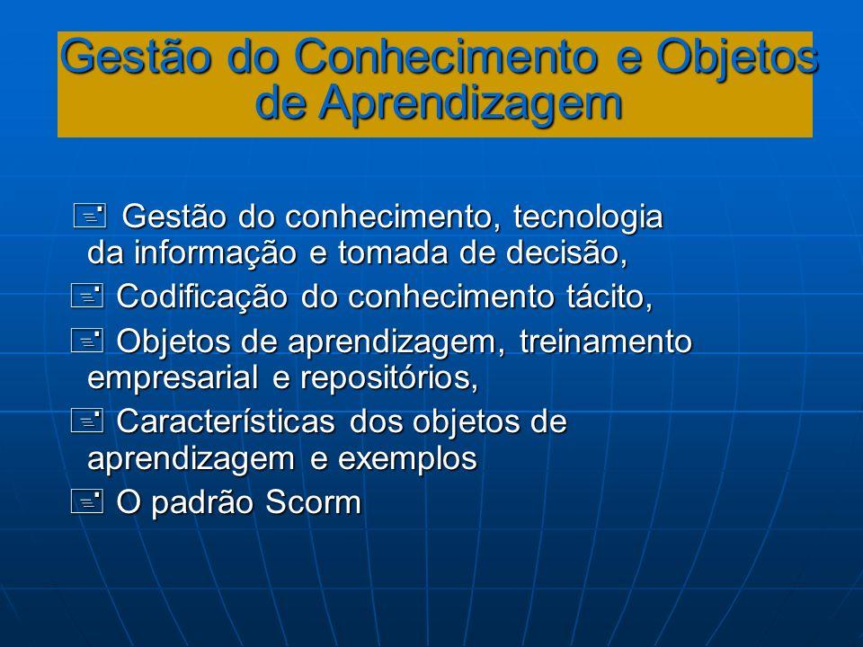 Gestão do Conhecimento e Objetos de Aprendizagem Gestão do conhecimento, tecnologia da informação e tomada de decisão, Gestão do conhecimento, tecnolo