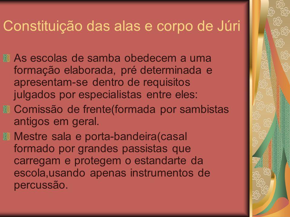Constituição das alas e corpo de Júri As escolas de samba obedecem a uma formação elaborada, pré determinada e apresentam-se dentro de requisitos julg