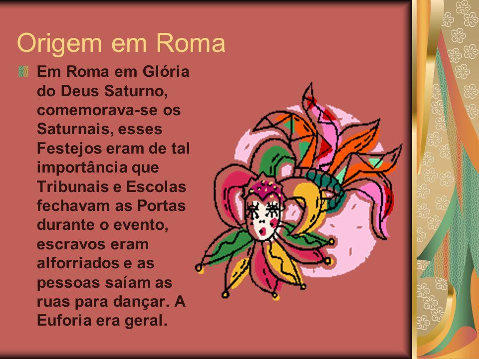 Origem do Carnaval no Brasil No Brasil Carnaval foi introduzido pelos Portugueses, chamava-se Entrudo palavra que vem do latim introitus, que designa as solenidades litúrgicas da Quaresma.