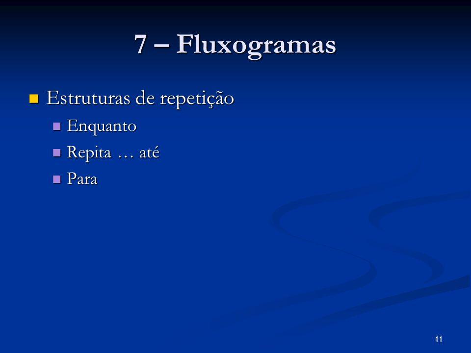 11 7 – Fluxogramas Estruturas de repetição Estruturas de repetição Enquanto Enquanto Repita … até Repita … até Para Para