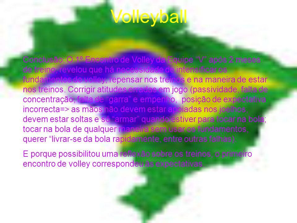 Volleyball Conclusão: O 1º Encontro de Volley da Equipe V após 2 meses de treino, revelou que há necessidade de intensificar os fundamentos do volley, repensar nos treinos e na maneira de estar nos treinos.