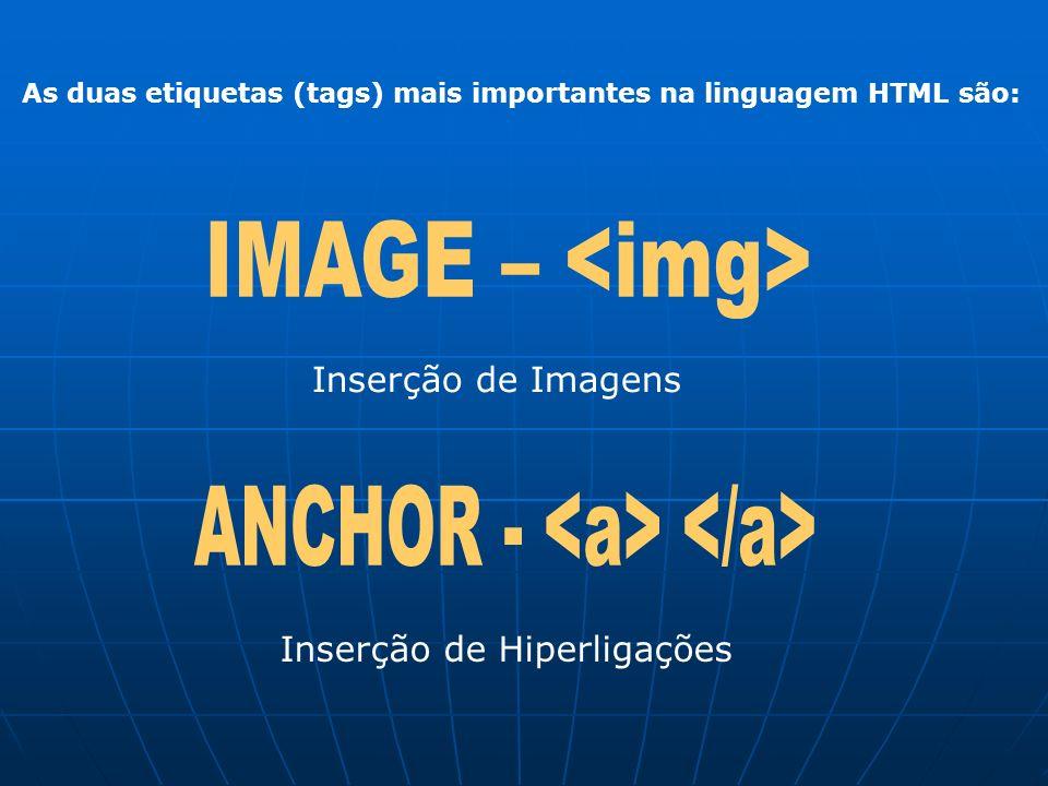 As duas etiquetas (tags) mais importantes na linguagem HTML são: Inserção de Imagens Inserção de Hiperligações