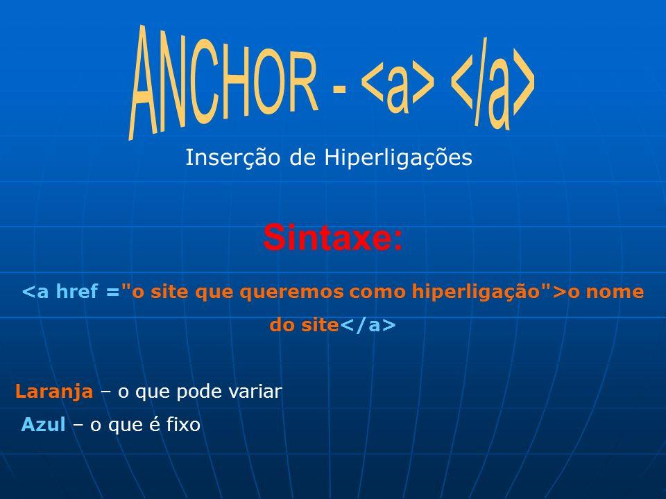 Inserção de Hiperligações Sintaxe: o nome do site Laranja – o que pode variar Azul – o que é fixo