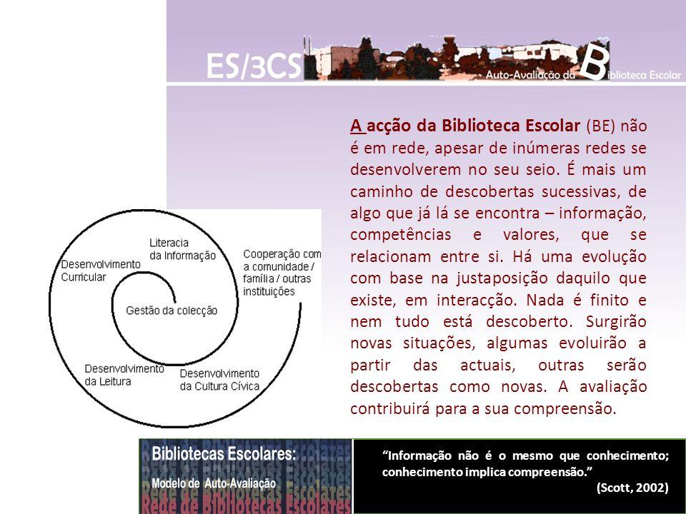A acção da Biblioteca Escolar (BE) não é em rede, apesar de inúmeras redes se desenvolverem no seu seio. É mais um caminho de descobertas sucessivas,