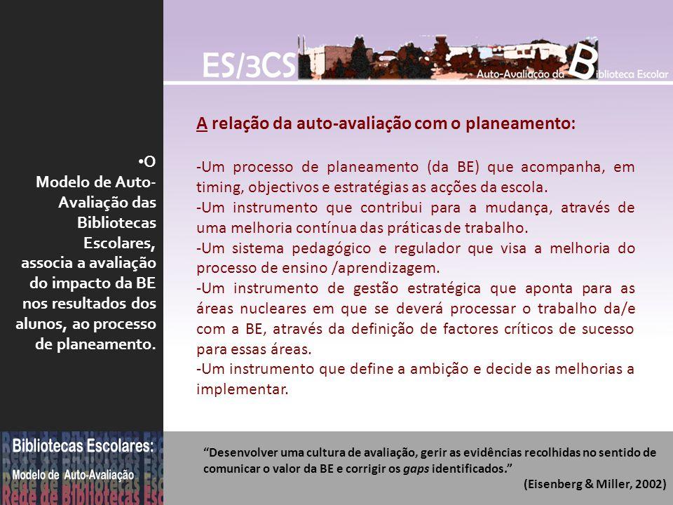 O Modelo de Auto- Avaliação das Bibliotecas Escolares, associa a avaliação do impacto da BE nos resultados dos alunos, ao processo de planeamento. A r