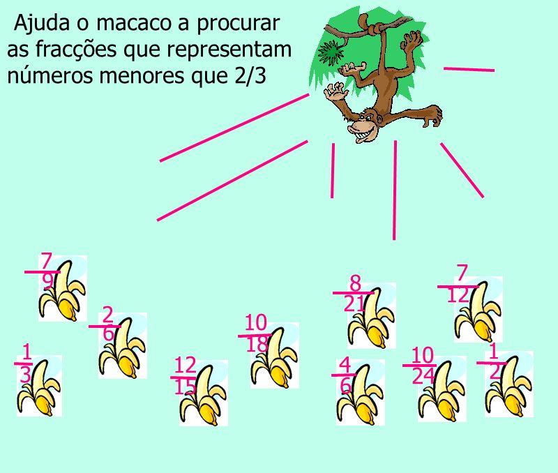 não sim não sim não sim 2 6 7 12 10 18 1 2 10 24 8 21 12 15 7 9 4 6 1 3 Ajuda o macaco a procurar as fracções que representam números menores que 2/3