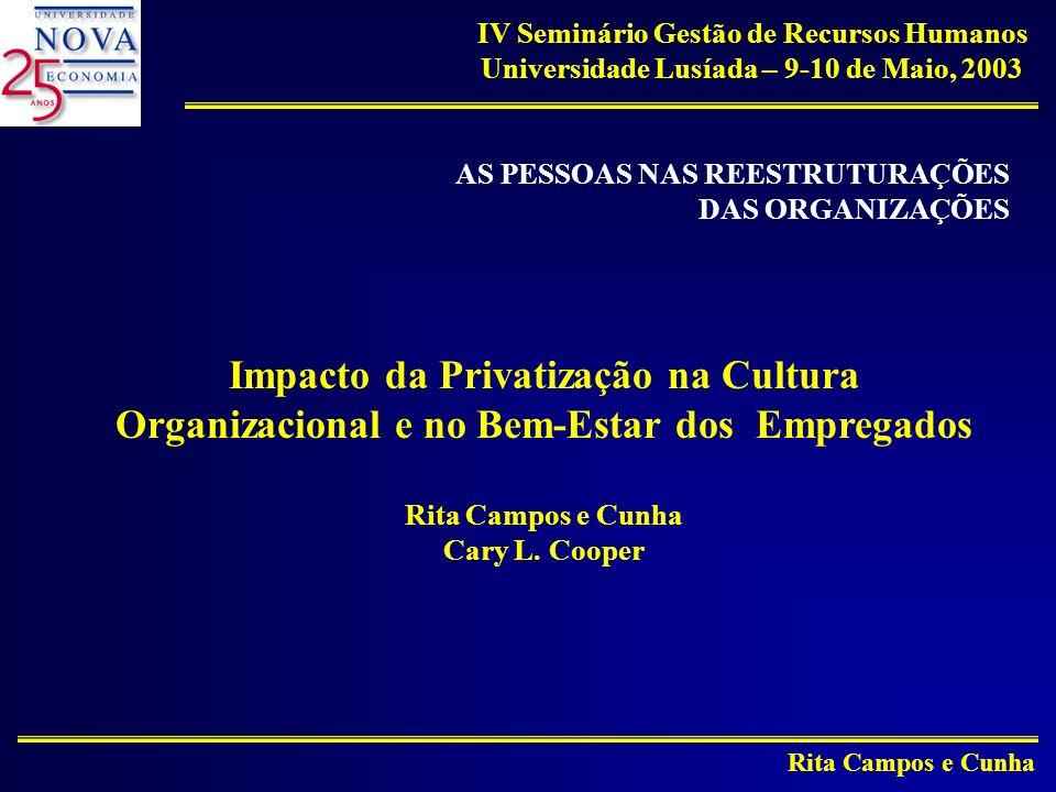 Rita Campos e Cunha IV Seminário Gestão de Recursos Humanos Universidade Lusíada – 9-10 de Maio, 2003 AS PESSOAS NAS REESTRUTURAÇÕES DAS ORGANIZAÇÕES Impacto da Privatização na Cultura Organizacional e no Bem-Estar dos Empregados Rita Campos e Cunha Cary L.