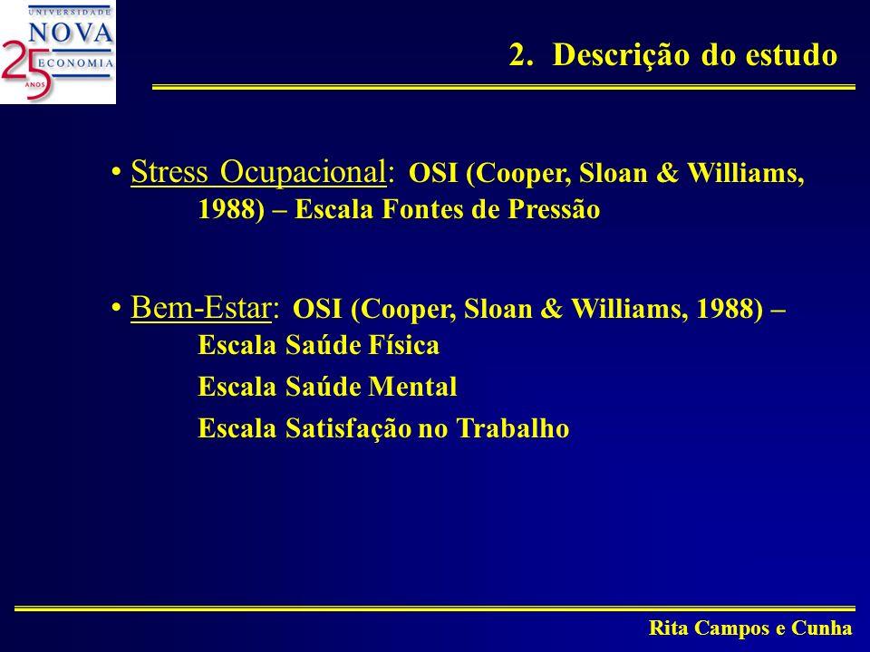 Rita Campos e Cunha Stress Ocupacional: OSI (Cooper, Sloan & Williams, 1988) – Escala Fontes de Pressão Bem-Estar: OSI (Cooper, Sloan & Williams, 1988) – Escala Saúde Física Escala Saúde Mental Escala Satisfação no Trabalho 2.Descrição do estudo