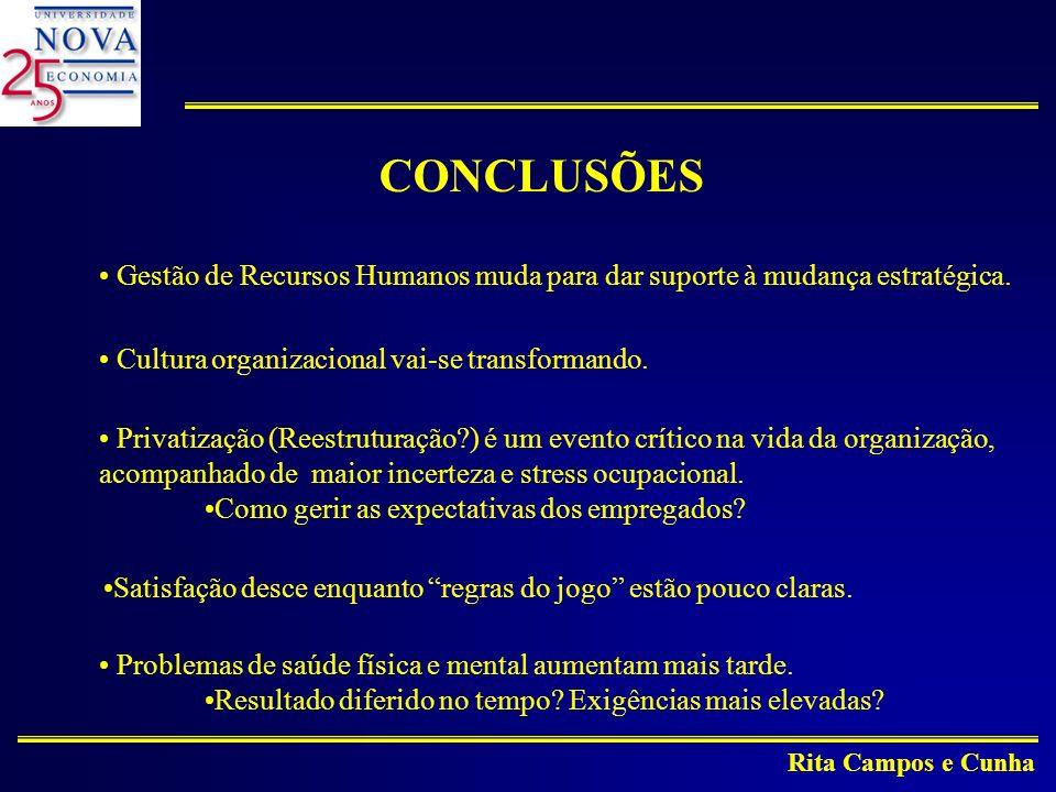 Rita Campos e Cunha CONCLUSÕES Gestão de Recursos Humanos muda para dar suporte à mudança estratégica.