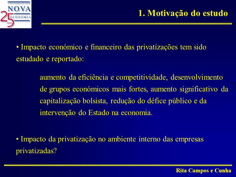 Rita Campos e Cunha Impacto económico e financeiro das privatizações tem sido estudado e reportado: aumento da eficiência e competitividade, desenvolvimento de grupos económicos mais fortes, aumento significativo da capitalização bolsista, redução do défice público e da intervenção do Estado na economia.