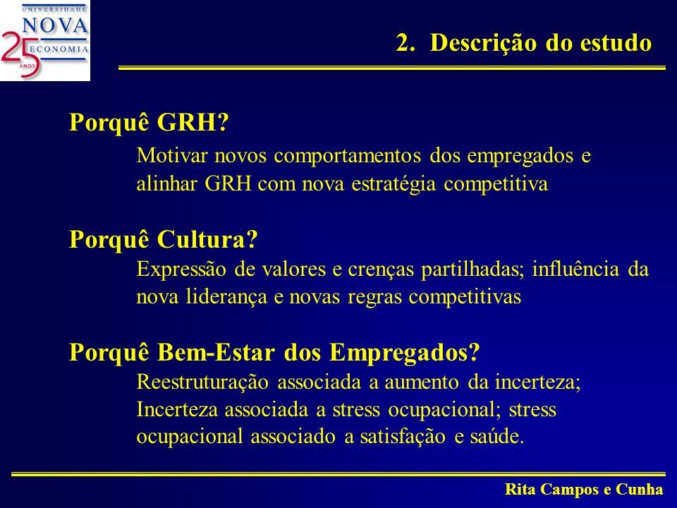 Rita Campos e Cunha Amostra: 3 empresas industriais empresa com 4 grupos: Unidades não privatizadas Unidades a privatizar 1994 1996 N=25N=27 N=40N=36 Empresa parcialmente privatizada N=133, recolha dados 1996 Empresa totalmente privatizada N=35, recolha dados 1996 N=65 N=63 2.Descrição do estudo