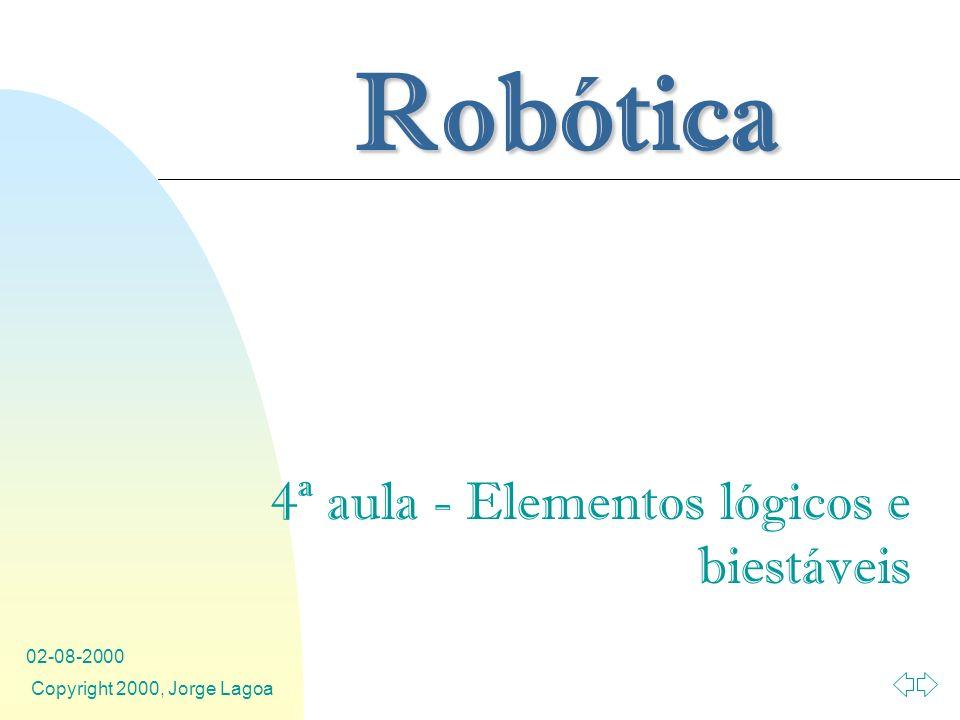 Robótica 02-08-2000 Copyright 2000, Jorge Lagoa 4ª aula - Elementos lógicos e biestáveis