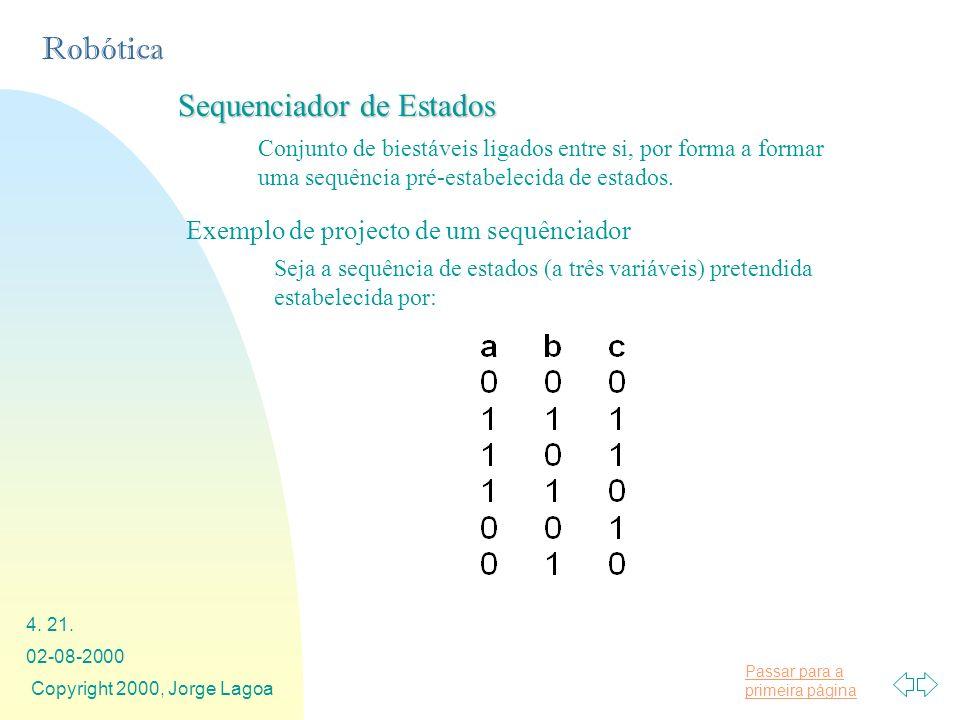 Passar para a primeira página Robótica 02-08-2000 Copyright 2000, Jorge Lagoa 4. 21. Sequenciador de Estados Conjunto de biestáveis ligados entre si,