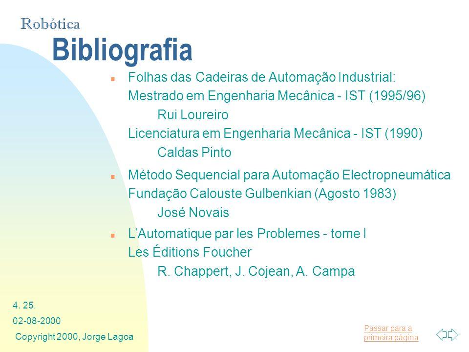Passar para a primeira página Robótica 02-08-2000 Copyright 2000, Jorge Lagoa 4. 25. Bibliografia n Folhas das Cadeiras de Automação Industrial: Mestr