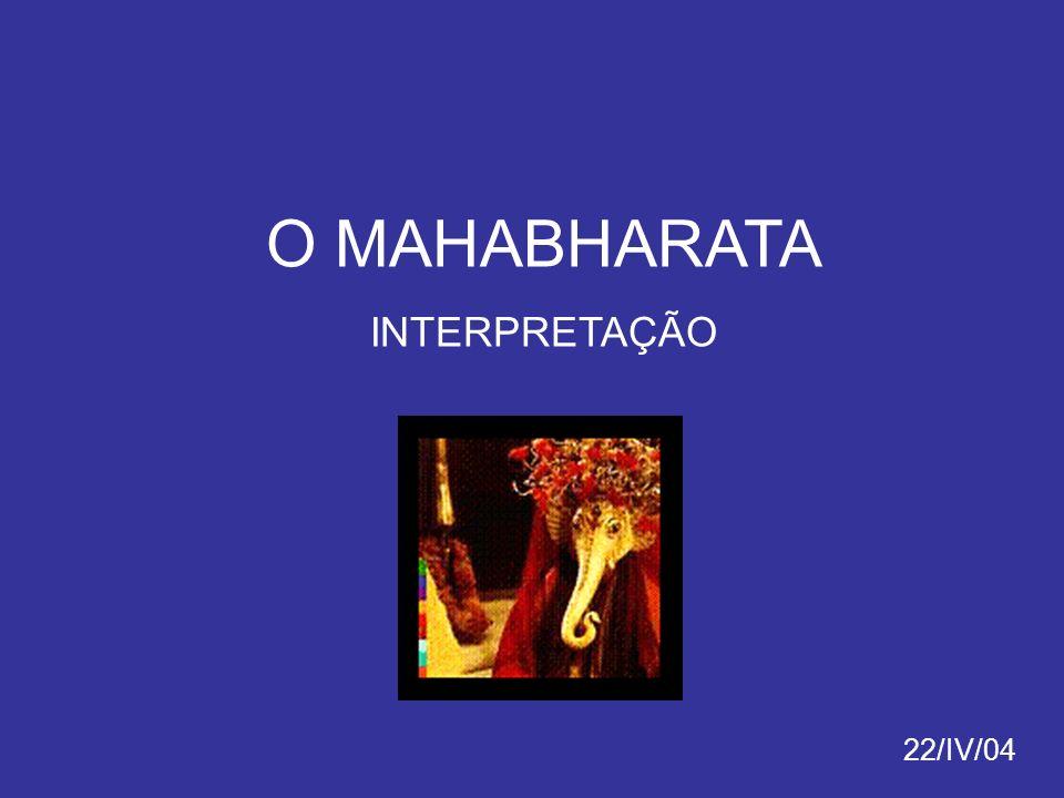 GEORGES DUMÉZIL I Função Espiritual Varuna = deus do cosmo(s) e dos céus Mitra = deus benevolente e da justiça II Função Guerreira Vayu = deus dos ventos (força) Indra = rei dos deuses, defensor dos deuses III Função Mercantil Ashwins = deuses gémeos, deuses da fertilidade e da beleza Mahabharata como a versão indiana de uma narrativa mítica comum aos povos de origem indo- europeia