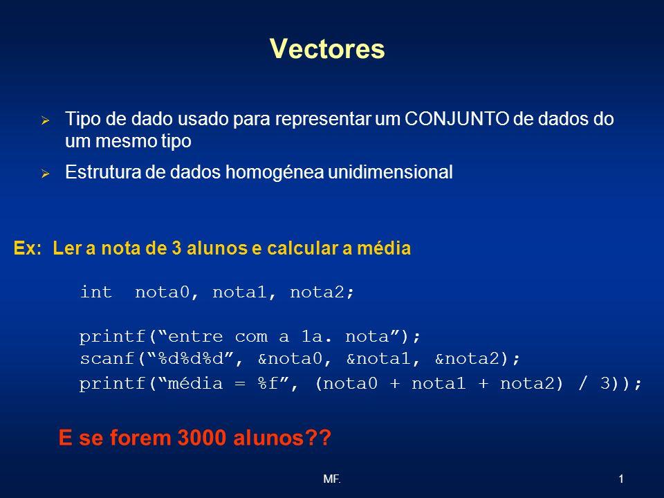 1MF. Vectores Tipo de dado usado para representar um CONJUNTO de dados do um mesmo tipo Estrutura de dados homogénea unidimensional Ex: Ler a nota de
