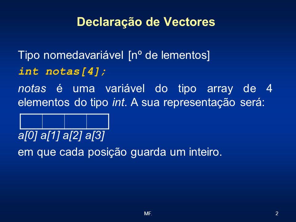 2MF. Declaração de Vectores Tipo nomedavariável [nº de lementos] int notas[4]; notas é uma variável do tipo array de 4 elementos do tipo int. A sua re