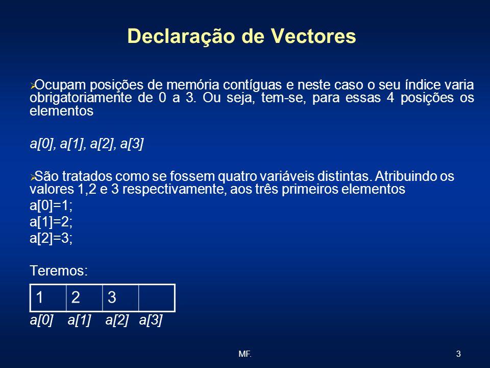 3MF. Declaração de Vectores Ocupam posições de memória contíguas e neste caso o seu índice varia obrigatoriamente de 0 a 3. Ou seja, tem-se, para essa
