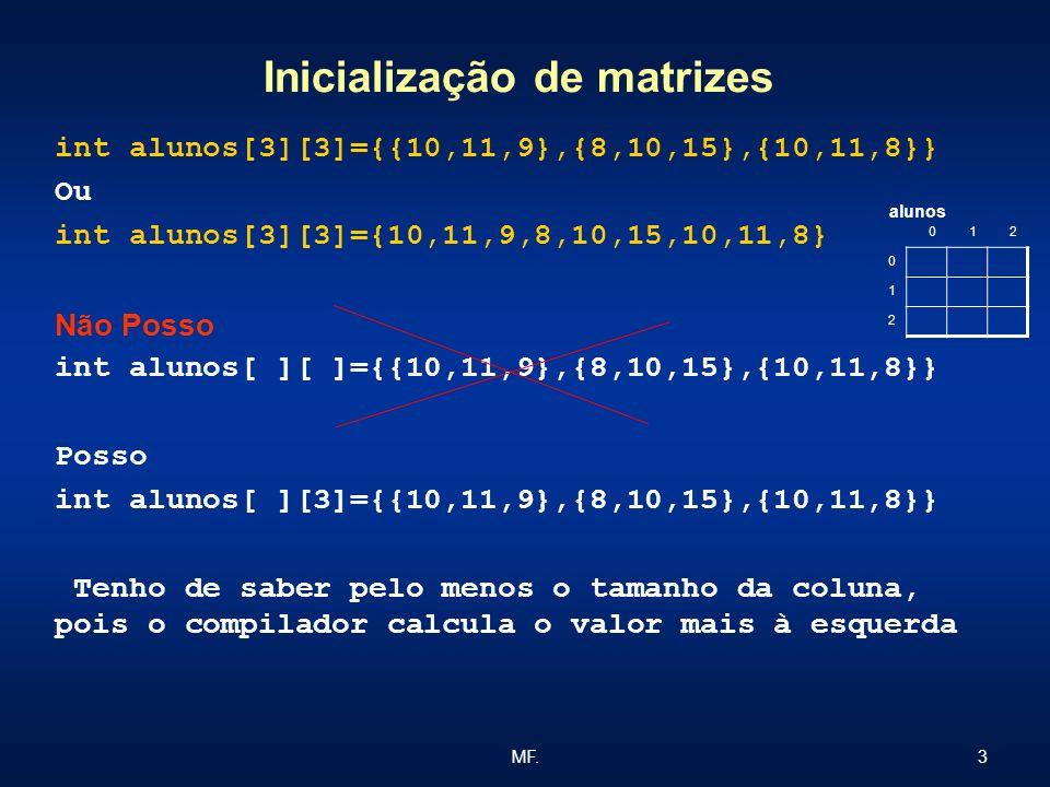 3MF. Inicialização de matrizes int alunos[3][3]={{10,11,9},{8,10,15},{10,11,8}} Ou int alunos[3][3]={10,11,9,8,10,15,10,11,8} Não Posso int alunos[ ][