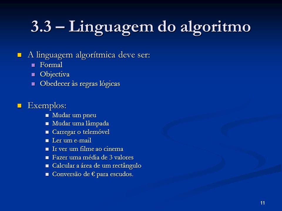 11 3.3 – Linguagem do algoritmo A linguagem algorítmica deve ser: A linguagem algorítmica deve ser: Formal Formal Objectiva Objectiva Obedecer às regr