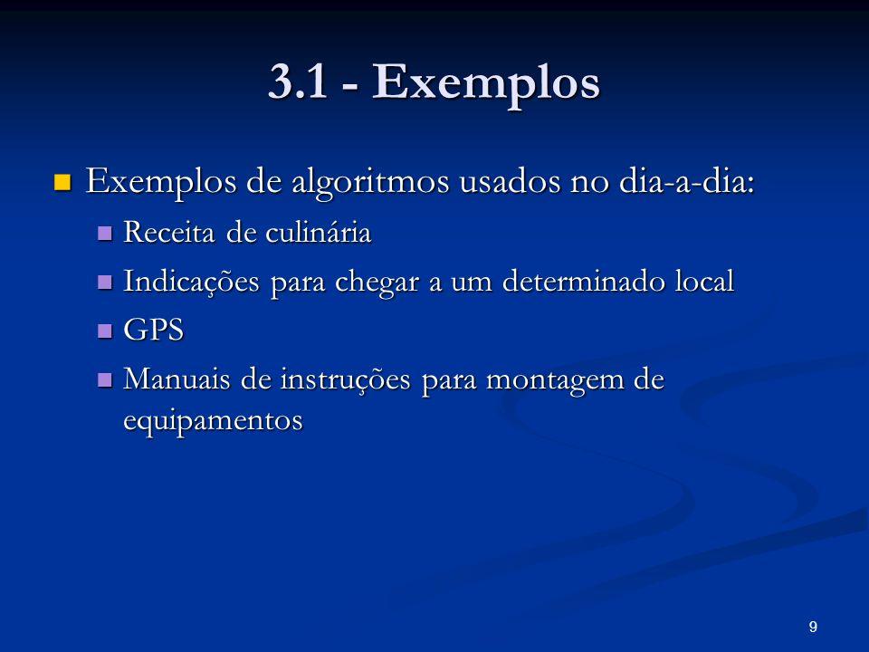 9 3.1 - Exemplos Exemplos de algoritmos usados no dia-a-dia: Exemplos de algoritmos usados no dia-a-dia: Receita de culinária Receita de culinária Ind