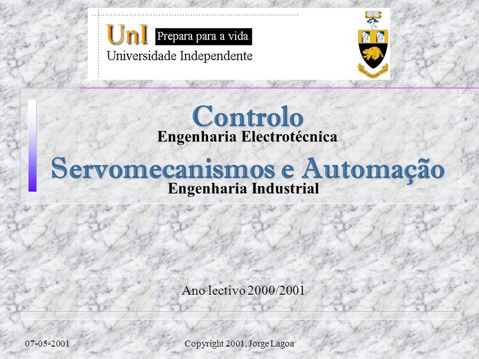 Ano lectivo 2000/2001 07-05-2001Copyright 2001, Jorge Lagoa Controlo Engenharia Electrotécnica Servomecanismos e Automação Engenharia Industrial