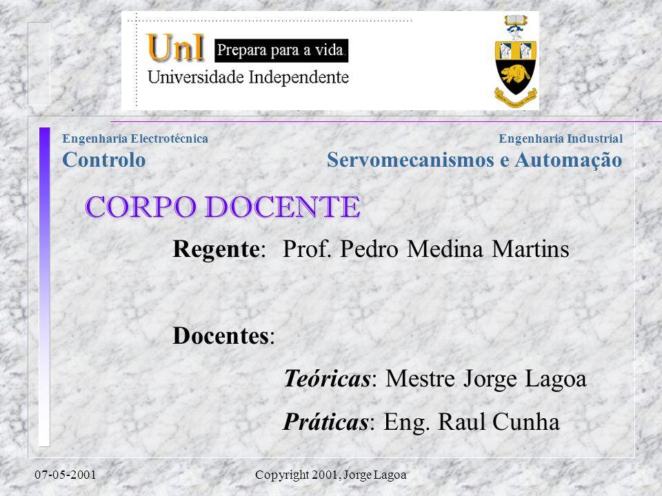 Servomecanismos e Automação Engenharia Electrotécnica Controlo 07-05-2001Copyright 2001, Jorge Lagoa Regente:Prof.