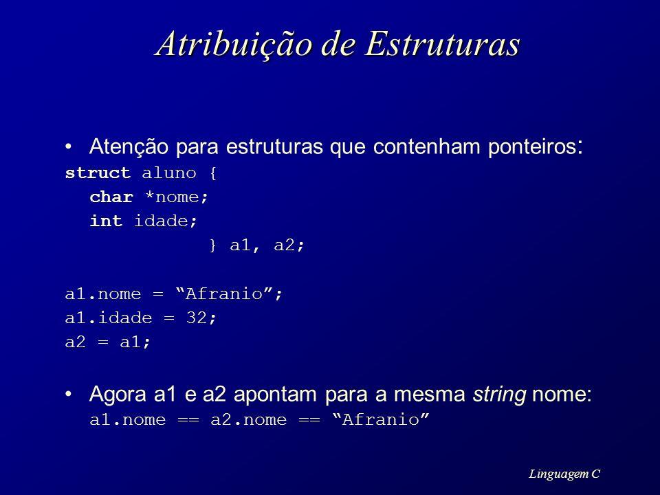 Linguagem C Atribuição de Estruturas Atenção para estruturas que contenham ponteiros : struct aluno { char *nome; int idade; } a1, a2; a1.nome = Afran