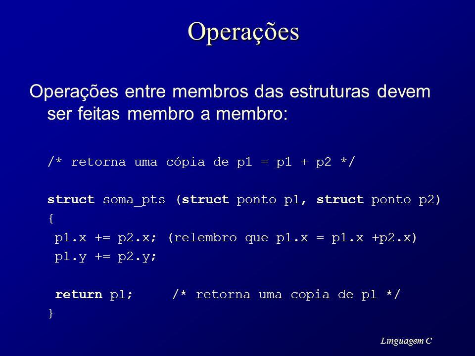 Linguagem COperações Operações entre membros das estruturas devem ser feitas membro a membro: /* retorna uma cópia de p1 = p1 + p2 */ struct soma_pts