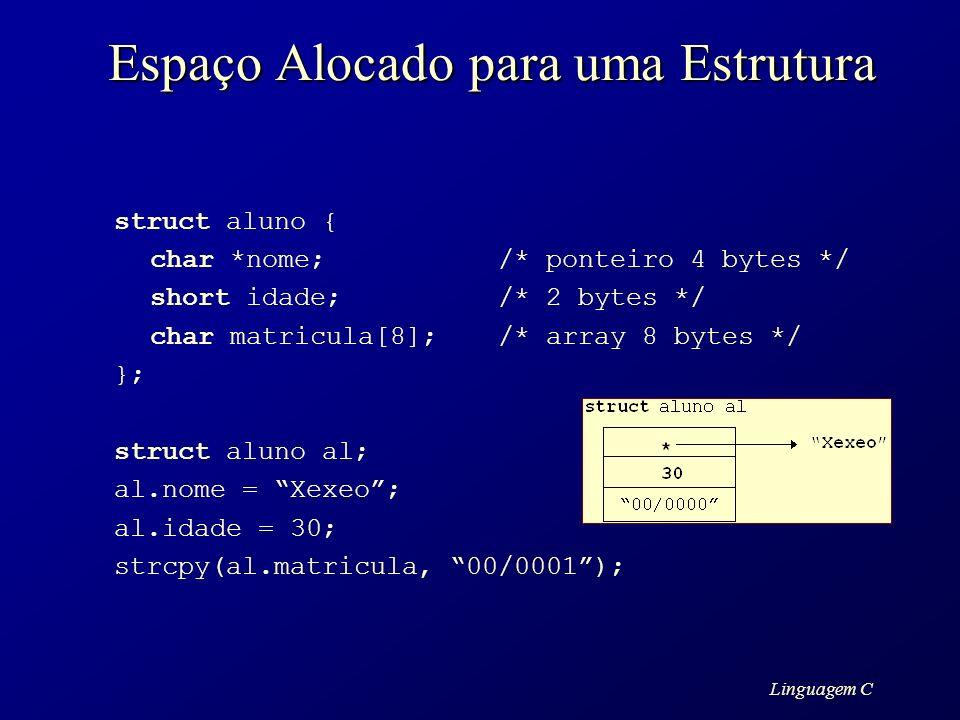 Linguagem C Espaço Alocado para uma Estrutura struct aluno { char *nome;/* ponteiro 4 bytes */ short idade;/* 2 bytes */ char matricula[8];/* array 8