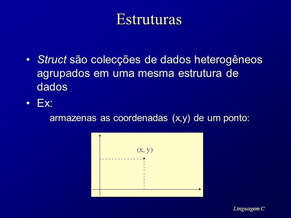 Linguagem CEstruturas Struct são colecções de dados heterogêneos agrupados em uma mesma estrutura de dados Ex: armazenas as coordenadas (x,y) de um po