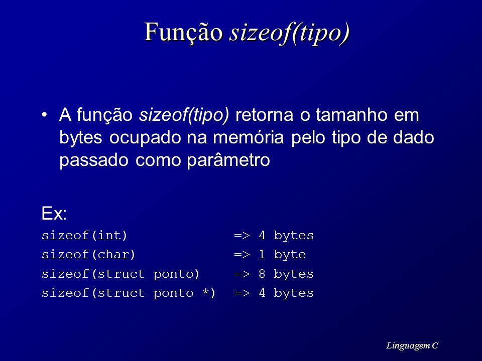 Linguagem C Função sizeof(tipo) A função sizeof(tipo) retorna o tamanho em bytes ocupado na memória pelo tipo de dado passado como parâmetro Ex: sizeo