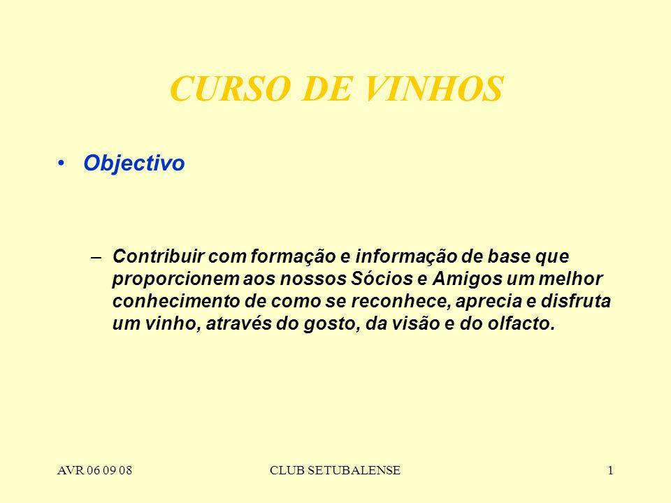 AVR 06 09 08CLUB SETUBALENSE1 CURSO DE VINHOS Objectivo –Contribuir com formação e informação de base que proporcionem aos nossos Sócios e Amigos um m