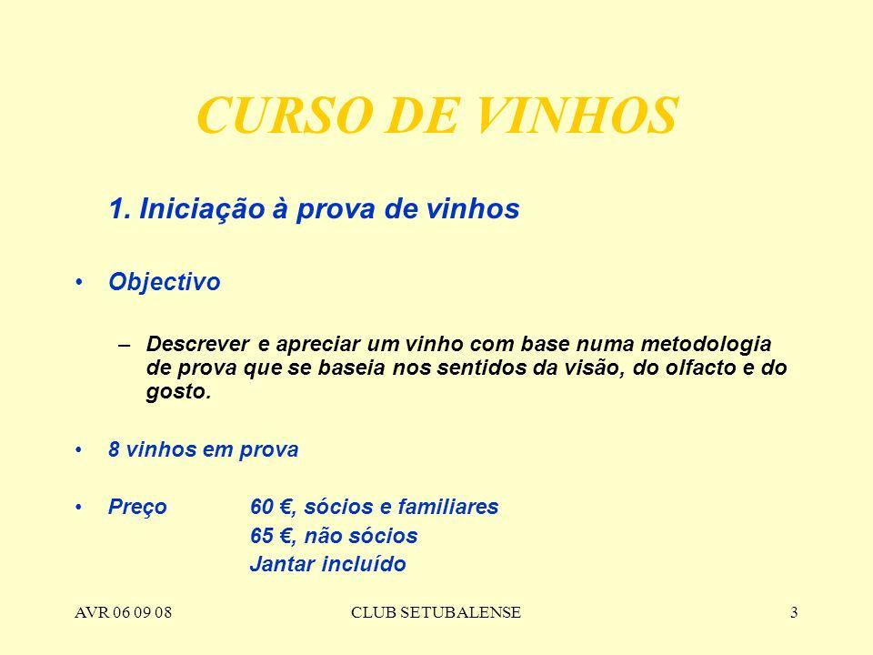 AVR 06 09 08CLUB SETUBALENSE3 CURSO DE VINHOS 1. Iniciação à prova de vinhos Objectivo –Descrever e apreciar um vinho com base numa metodologia de pro