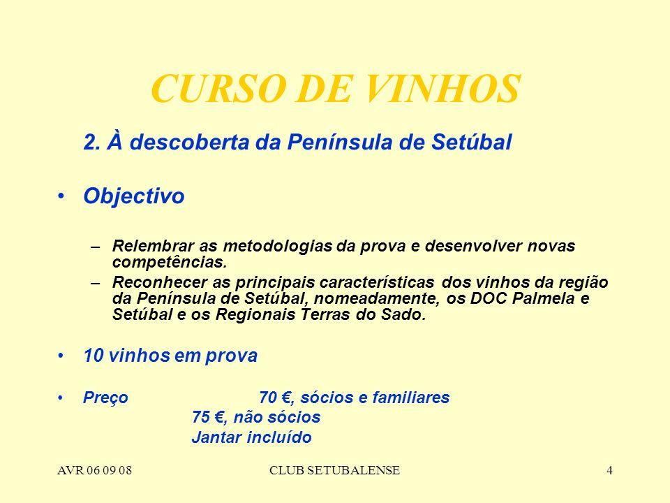 AVR 06 09 08CLUB SETUBALENSE4 CURSO DE VINHOS 2. À descoberta da Península de Setúbal Objectivo –Relembrar as metodologias da prova e desenvolver nova