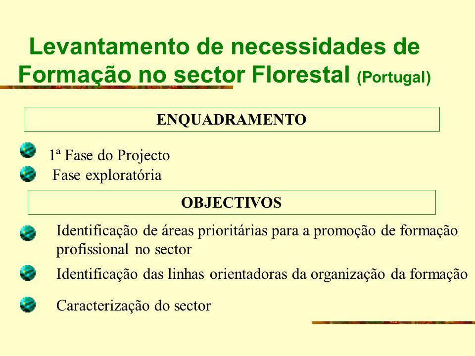 Levantamento de necessidades de Formação no sector Florestal (Portugal) ABRANGÊNCIA Portugal continental Produção florestal e serviços florestais a este nível Desde a Produção até à 1ª transformação