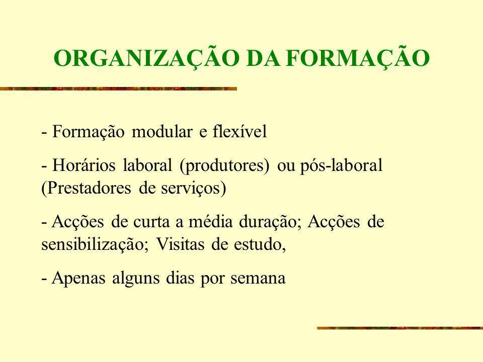 ORGANIZAÇÃO DA FORMAÇÃO - Formação modular e flexível - Horários laboral (produtores) ou pós-laboral (Prestadores de serviços) - Acções de curta a méd