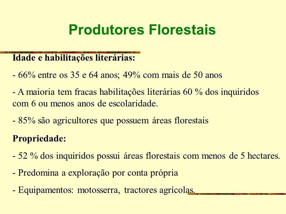 Produtores Florestais Idade e habilitações literárias: - 66% entre os 35 e 64 anos; 49% com mais de 50 anos - A maioria tem fracas habilitações literá