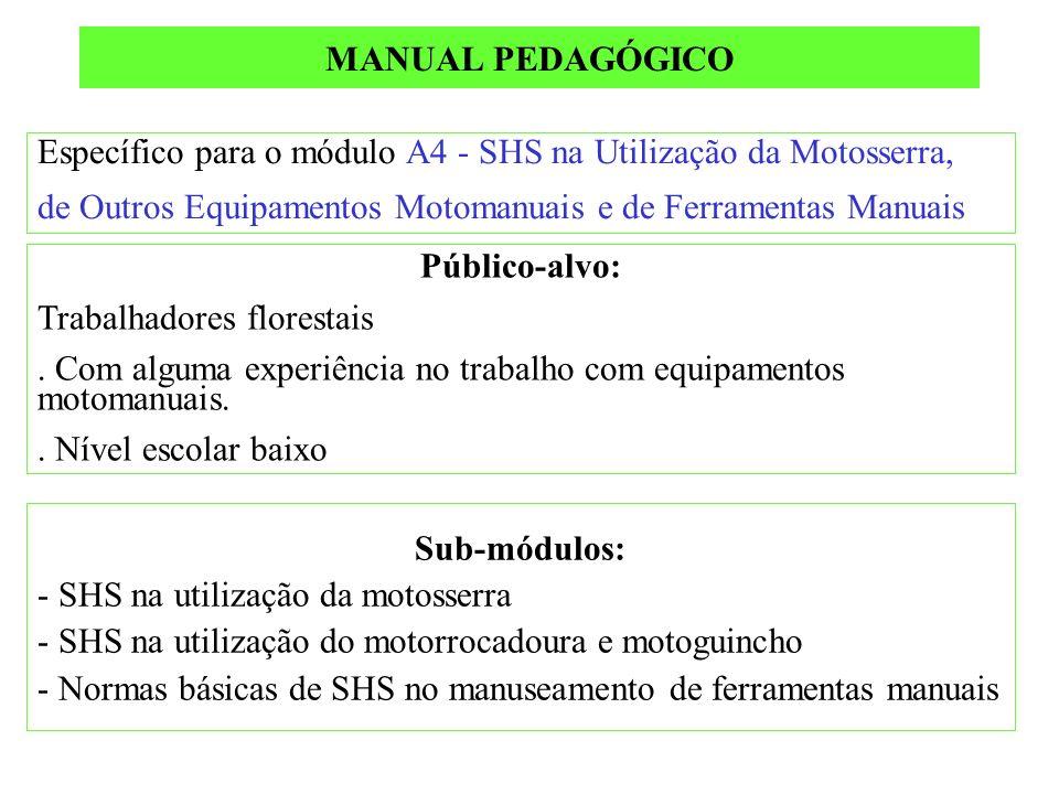 Específico para o módulo A4 - SHS na Utilização da Motosserra, de Outros Equipamentos Motomanuais e de Ferramentas Manuais Público-alvo: Trabalhadores florestais.