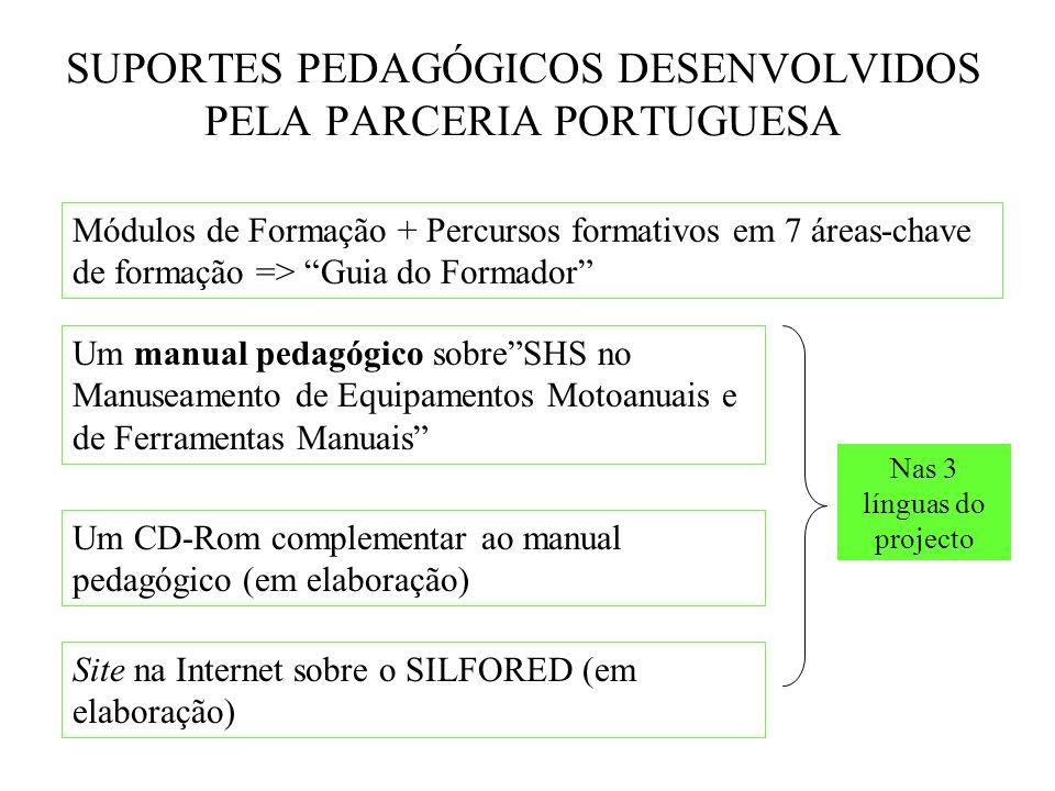 SUPORTES PEDAGÓGICOS DESENVOLVIDOS PELA PARCERIA PORTUGUESA Um manual pedagógico sobreSHS no Manuseamento de Equipamentos Motoanuais e de Ferramentas Manuais Um CD-Rom complementar ao manual pedagógico (em elaboração) Site na Internet sobre o SILFORED (em elaboração) Módulos de Formação + Percursos formativos em 7 áreas-chave de formação => Guia do Formador Nas 3 línguas do projecto