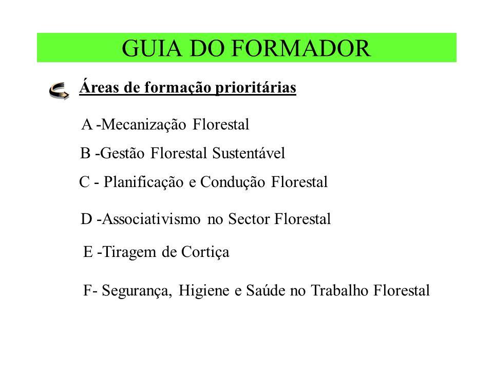 GUIA DO FORMADOR Áreas de formação prioritárias F- Segurança, Higiene e Saúde no Trabalho Florestal A -Mecanização Florestal B -Gestão Florestal Sustentável D -Associativismo no Sector Florestal C - Planificação e Condução Florestal E -Tiragem de Cortiça