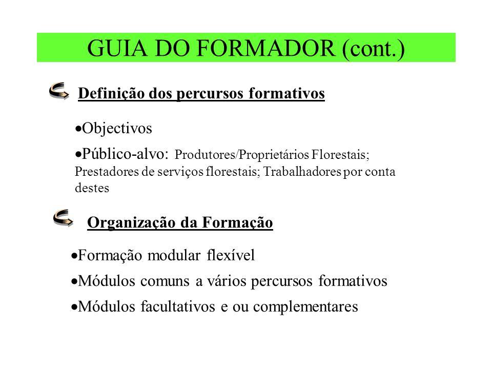 GUIA DO FORMADOR (cont.) Definição dos percursos formativos Objectivos Público-alvo: Produtores/Proprietários Florestais; Prestadores de serviços flor
