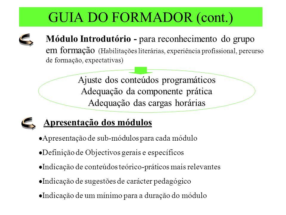GUIA DO FORMADOR (cont.) Módulo Introdutório - para reconhecimento do grupo em formação (Habilitações literárias, experiência profissional, percurso d
