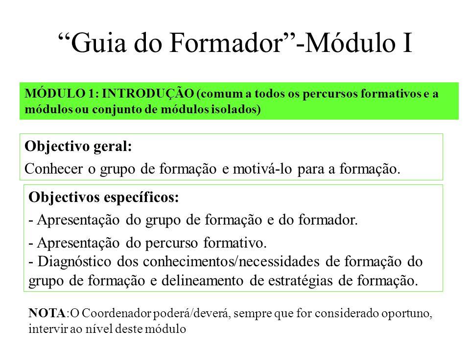 MÓDULO 1: INTRODUÇÃO (comum a todos os percursos formativos e a módulos ou conjunto de módulos isolados) Objectivos específicos: - Apresentação do grupo de formação e do formador.